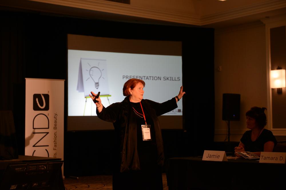 <p>Rebecca H demonstrates presentation skills </p>