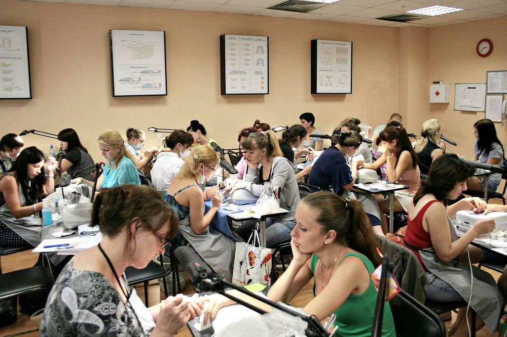 <p>Students take a popular class in manicuring at OleHouse.</p>