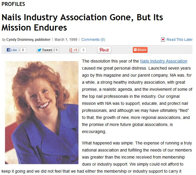 <p><strong>1992</strong>: NAILS starts a nail technician association called Nails Industry Association (NIA), and purchases the NNTG. The NIA dissolved in 1996.</p>