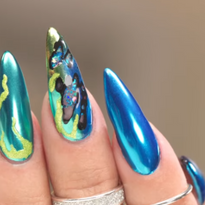 3-D Nail Art Using E-File and Neon Chrome Powders