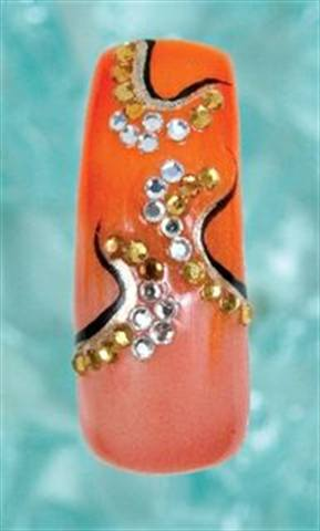 Rhinestones and Pearls by Laura Sloggatt (1 of 3) - Laura, a nail technician and an IBD educator based in Levittown, N.Y., used gel polish to create these designs brimming with rhinestones. The rhinestones were set in place with clear gel.