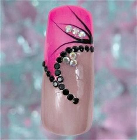Rhinestones and Pearlsby Laura Sloggatt (3 of 3) - Sloggatt used gel polish for this pretty in pink design, which features a rhinestone pattern that could easily pass for a black pearl necklace.
