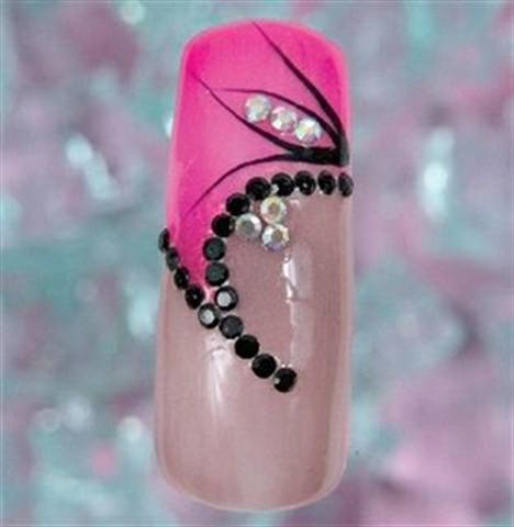 Rhinestones and Pearls by Laura Sloggatt (3 of 3) - Sloggatt used gel polish for this pretty in pink design, which features a rhinestone pattern that could easily pass for a black pearl necklace.