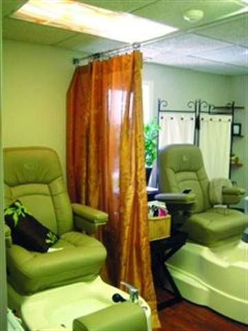 <p>Nail Creations at Bamboo Natural Beauty in Londonderry, N.H., features patterned drapes on a steel rod to separate the salon&rsquo;s two pedicure chairs. The drapes can easily be pulled forward and back and, as an added bonus, their golden color adds warmth to the room.</p>