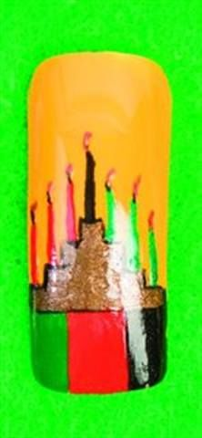 <p>Kwanzaa: Bence depicts the Kinara here, which is the candle holder for Kwanzaa. During the week-long celebration, a single candle is lit for each day. </p>
