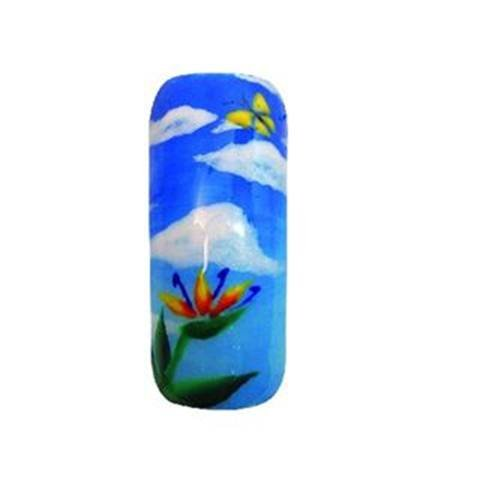 <p>Nothing but blue skies do I see. Christie Lovett of Christie's Nails in Ocean View, Hawaii, used Young Nails' new Kaleidoscope Gel to create this sunny-sky design.</p>
