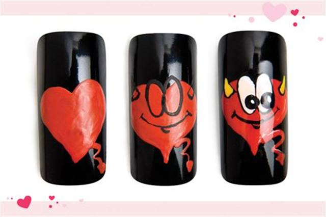 <p><strong>Fast: Nail Art in 5 MINUTES OR LESS</strong></p> <p>Lil&rsquo; Love Devil</p> <p>Nails by Conde</p> <p>1. Polish the nail&nbsp;with CND Oilslick. Water down your red acrylic paint (so it dries faster), then draw a wide heart with a tail.&nbsp;</p> <p>2. Draw two side by side black zeros at the top of the heart. Add horns,&nbsp;high eyebrows,&nbsp;and a wide grin.</p> <p>3. Fill in eyes with white. Fill in horns with yellow. Add black dots to the eyes for pupils. Highlight the tail, heart&rsquo;s edge,&nbsp;eyebrows,&nbsp;and pupils with white. Apply top coat.</p>