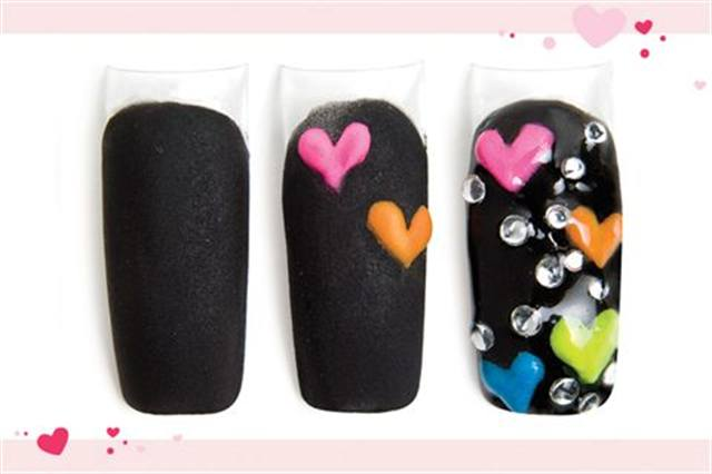 <p><strong>Fast: Nail Art in 5 MINUTES OR LESS</strong></p> <p>Neon Hearts</p> <p>Nails by Jackson</p> <p>1. Cover the entire nail with black acrylic.</p> <p>2. Apply clear acrylic over the entire nail. File and buff. Start creating 3-D hearts in a variety of neon colors.</p> <p>3. Add more hearts. Add rhinestones. Apply UV top coat. Cure.</p>
