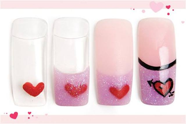 <p><strong>Fast: Nail Art in 5 MINUTES OR LESS</strong></p> <p>Shot Through the Heart</p> <p>Nails by Landeros</p> <p>1. In the lower righthand corner, use red acrylic to create a heart.</p> <p>2. Cover the heart with purple glitter and form the smile line.</p> <p>3. Apply pink acrylic to complete the French. File and buff.</p> <p>4. Outline the heart with black paint. Add a black arrow and black smile line. Apply top coat.</p>