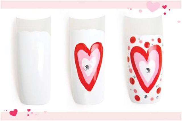 <p><strong>Faster: Nail Art in 3 MINUTES OR LESS</strong></p> <p>Groovy Love</p> <p>Nails by Lam</p> <p>1. Polish the nail white.</p> <p>2. Paint a big red heart outline in the center. Paint a smaller pink heart outline inside of the red, then an even smaller white heart outline inside of the pink.</p> <p>3. Place a clear rhinestone in the center of the white heart.</p> <p>4. Using acrylic paint and different sized dotting tools, apply light pink and red dots. Apply silver glitter dots. Apply top coat.</p>