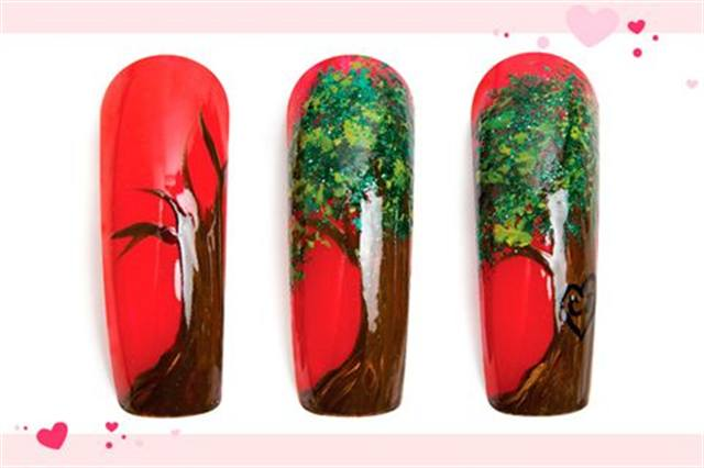 <p><strong>Faster: Nail Art in 3 MINUTES OR LESS</strong></p> <p>&nbsp;Em&ldquo;bark&rdquo;ing on Love</p> <p>Nails by Landeros</p> <p>1. Polish the nail red. Use two different shades of brown (for &shy;dimension) to create a tree trunk.</p> <p>2. Sponge on two different green paints to create leaves. Let dry. Add green glitter polish accents.</p> <p>3. Use black paint to add a heart onto the trunk. Add the requested initials. Apply top coat.</p>
