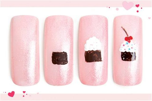 <p><strong>Faster: Nail Art in 3 MINUTES OR LESS</strong></p> <p>Sweets for the Sweetie</p> <p>Nails by Lum</p> <p>1. Polish the nail with OPI Princesses Rule!</p> <p>2. Use brown acrylic paint to make a rectangle.</p> <p>3. Using white acrylic paint and a dotter tool, create icing.</p> <p>4. Add a red heart-shaped cherry with a brown stem. Add various colored dots for sprinkles.</p>