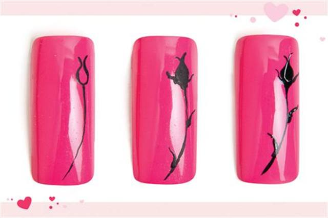 <p><strong>Fastest: Nail Art in 1 MINUTE OR LESS&nbsp;</strong></p> <p>A Rosy Future</p> <p>Nails by Conde</p> <p>1. Polish the nail with OPI India Mood for Love. Use black water-based acrylic paint to draw a tear drop with an open top and a long, thin stem.</p> <p>2. Fill in the tear drop. Add leaves below the bud and to the stem, making them thicker at the base and wavy as you drag the paint out.</p> <p>3. Highlight the bud and leaves with white. Apply top coat.</p>