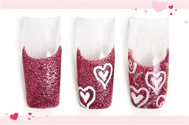 <p><strong>Fastest: Nail Art in 1 MINUTE OR LESS</strong></p> <p>Forever French</p> <p>Nails by Jackson</p> <p>1. Apply glitter pink acrylic to create a French.</p> <p>2. Using white acrylic paint and a striper, draw two small hearts. Outline each heart with a bigger heart.</p> <p>3. Add white spirals in the corners. Use a silver glitter striper to add swooping lines. File and buff. Apply UV top coat. Cure.</p>
