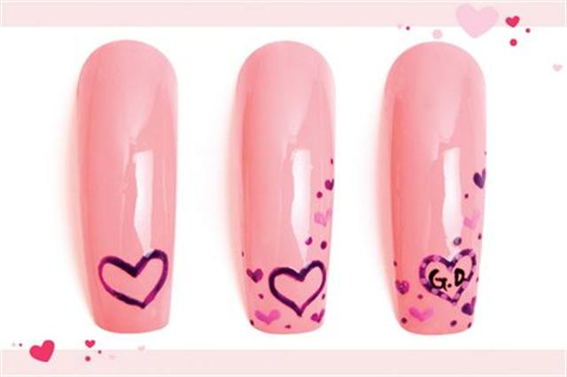 <p><strong>Fastest: Nail Art in 1 MINUTE OR LESS</strong></p> <p>Signed and Sealed</p> <p>Nails by Landeros</p> <p>1. Polish the nail hot pink. In the lower righthand corner, draw a purple heart outline.</p> <p>2. Add smaller hearts and dots in the same purple and in a lighter purple.</p> <p>3. Add light purple dots in the heart outline. Add the requested initials. Apply top coat.</p>