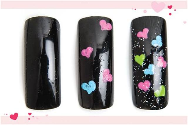 <p><strong>Fastest: Nail Art in 1 MINUTE OR LESS</strong></p> <p>Showered with Love</p> <p>Nails by Lum</p> <p>1. Polish the nail with OPI Black Onyx.</p> <p>2. Using a dotter tool, a detail brush, and brightly colored acrylic paints, draw hearts.</p> <p>3. Add more hearts. Apply glitter top coat.</p>