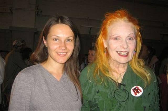 <p>Kinetics International educator Margarita Belska poses with designer Vivienne Westwood during London Fashion Week.&nbsp;The show&rsquo;s nail care sponsor was M2M damoreJon.</p>