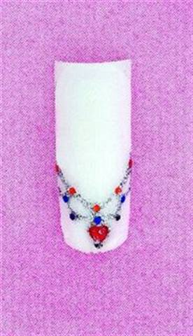 <p>Christine Lee of Christrio created this cute glitter gel and hologram design that looks like an opulent necklace on a white tip.</p>