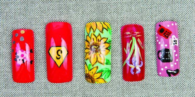 <p>The Working Mom:</p> <p>She's a full-time go-getter but still finds the energy to nurture the kids.</p> <p>Nails by Chomanczuk, Bence, Bence, Bence, Chomanczuk</p>