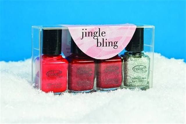 "<p>Have yourself a merry little holiday season with <a href=""http://www.nailsmag.com/fifi/22476"">Color Club's</a> Jingle Bling Collection. The four festive red and glitter polish shades make perfect stocking stuffers. Colors include Cadillac Red, Brr- Red, Ruby Slippers, and Silver Glitter.</p>"