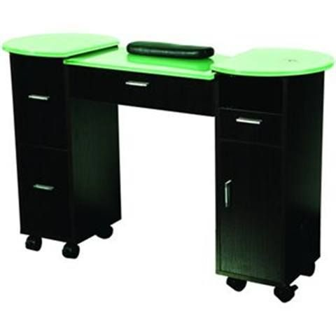 <p>Contemporary styling and detail make tng worldwide's TISPRO Portland Manicure Table a beautiful addition to any salon. It offers generous storage with three large drawers, a pull-out tray, and a large center drawer. The laminate and glass finish is durable and easy to keep clean, while lockable caster wheels mean it's easy to move. It is available in black or wenge (shown) finishes.</p>