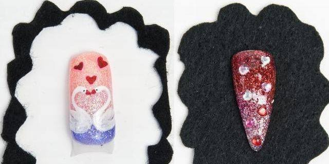 <p>Nail art by Vaida Indrasiute (left) and Caralyn Brown (right)</p>