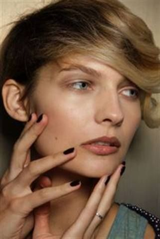 <p>At Behnaz Sarafpour, bursts of rich, deep color in the form of CND Dark Ruby and Asphalt matched &rsquo;40s inspired pieces.</p> <p><em>Photo courtesy of CND</em></p>