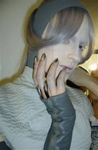 <p>U.K. manicurist Teresa Smith contacted Minx to have the company create a special edition Pewter Minx nails for the Gareth Pugh fashion show at London Fashion Week.</p> <p><em>Photography by Teresa Smith</em></p>