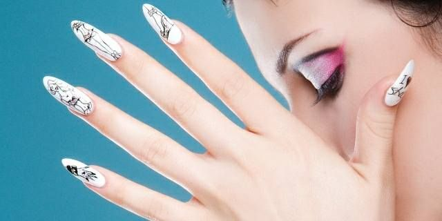 <p>2006: To get these nails to look like a fashion sketch, Ellison applied two coats of white enamel over Brisa gels. After allowing the polish to dry thoroughly she used a pencil to sketch her designs, then went over them with a black illustration marker. She painted highlights with pink watercolor paint and finished with two layers of top coat.</p>