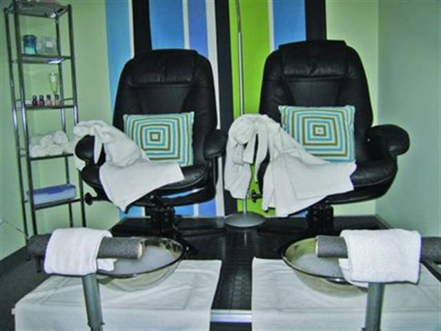 Egea is Evanston, Ill.'s  (owners: Katherine Pappas and Carol Mavrakis) only wellness spa. They converted some massage rooms into pedicure rooms and have luscious black leather chairs that recline. Clients place their feet in silver vessel sinks.