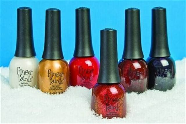 "<p><a href=""http://www.nailsmag.com/fifi/22496"">Fingerpaints</a> has a new Holiday Polish Collection. The festive colors include Butterscotch Cookie, Spun Sugar, Maroon Macaroon, Red Marzipan, Black Gumdrop and Shiny Red Apple. </p>"