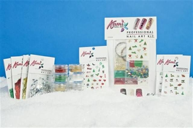 "<p><a href=""http://www.nailsmag.com/fifi/22489"">Kami</a> has a collection of Holiday Nail Art Kits, with decals of Christmas trees, snowmen, bells, and snowflakes. The kit also includes holiday glitter in gold, green, red, silver, and white.</p>"
