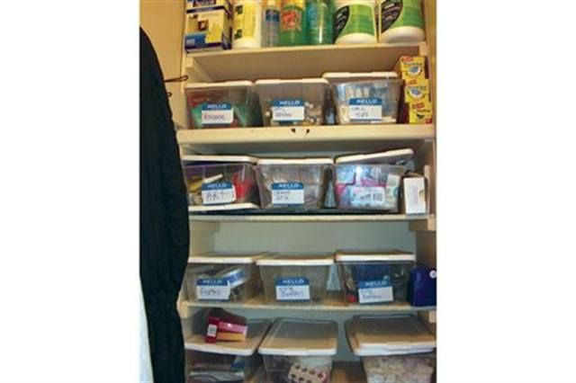 <p>I have a closet with plastic shoe boxes with labels on the outside for all of my extras &mdash; files, buffers, pedicure files, etc. In my desk, I have long skinny baskets that keep all of my brands&rsquo; product lines together.</p>