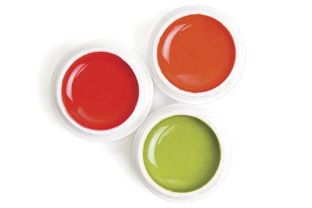 """<p><a href=""""http://www.lechatnails.com""""><strong>LeChat&rsquo;s</strong> </a>Nobility Competition Gels pack high performance into a wider variety of shades. The spring colors shown here are Lime Pie, Mixed Candy, and Solar Flare.</p>"""
