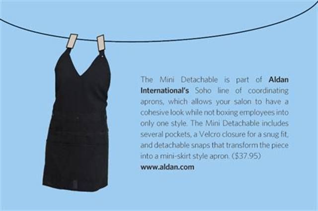 "<p>The Mini Detachable is part of <strong>Aldan International&rsquo;s</strong> Soho line of coordinating aprons, which allows your salon to have a cohesive look while not boxing employees into only one style. The Mini Detachable includes several pockets, a Velcro closure for a snug fit, and detachable snaps that transform the piece into a mini-skirt style apron. ($37.95) <strong><a href=""http://www.aldan.com"">www.aldan.com</a></strong></p>"