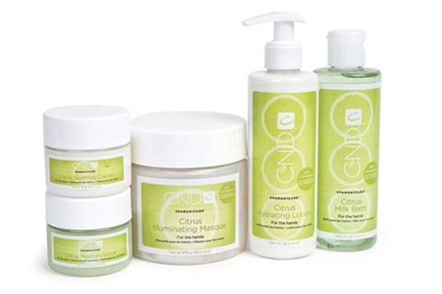 """<p><strong>CND&rsquo;s</strong> Citrus SpaManicure System uses lemongrass, orange, grapefruit and lime essential oils to awaken the senses and antioxidants derived from grapeseed oil to rejuvenate skin. The invigorating collection includes a milk bath, scrub, mask, lotion, and cream.<br /><a href=""""http://www.cnd.com""""></a></p> <p><a href=""""http://www.cnd.com"""">www.cnd.com</a></p>"""