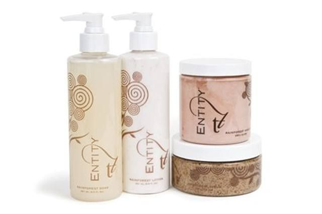 """<p><strong>Entity&rsquo;s </strong>Rainforest Kit uses rich nutrients, exotic ingredients, and curative energies <br />to revitalize skin as well as the soul. The soak, scrub, mask, and nanotechnology-based lotion work in harmony for an experience that is sumptuous and relaxing to all senses. Products use recyclable packaging and each purchase supports the use of renewable rainforest crops. <br /><br /><a href=""""http://www.entitybeauty.com/"""">www.entitybeauty.com</a></p>"""