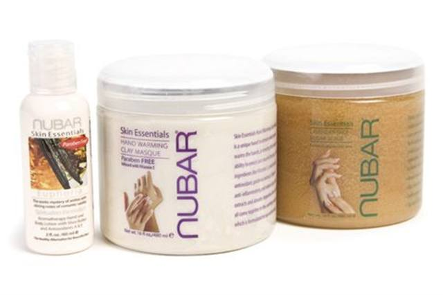 "<p><strong>Nubar</strong> has a new collection of manicure and pedicure products, with its highlight being the Hand Warming Clay Masque. The Masque works as an excellent intermediary step between the Lavender Sage Scrub and the moisture-sealing Skin Essential Hand Lotions. The Masque gently warms hands while moisturizing and healing dry skin.</p> <p><a href=""http://www.bynubar.com/store/index.php?p=home"">www.bynubar.com</a></p>"