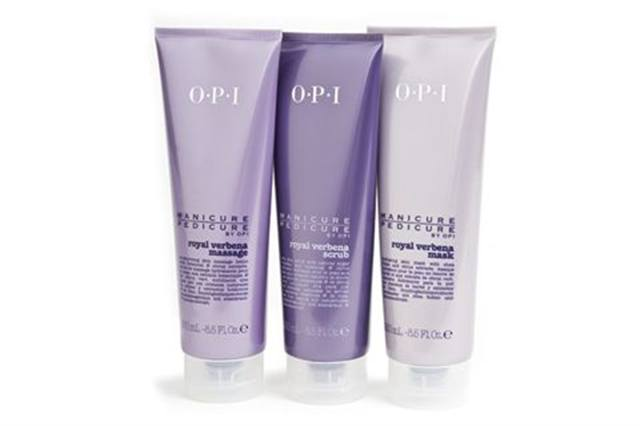 "<p><strong>OPI&rsquo;s</strong> Royal Verbena can function as both a manicure and pedicure line. Inspired by the blossoming verbena plant with its crisp, green aroma and soothing botanical extracts, the line includes a scrub, mask, and massage lotion that leaves the skin feeling pampered, soft, and smooth.<br /><br /><a href=""http://www.opi.com/"">www.opi.com</a></p>"