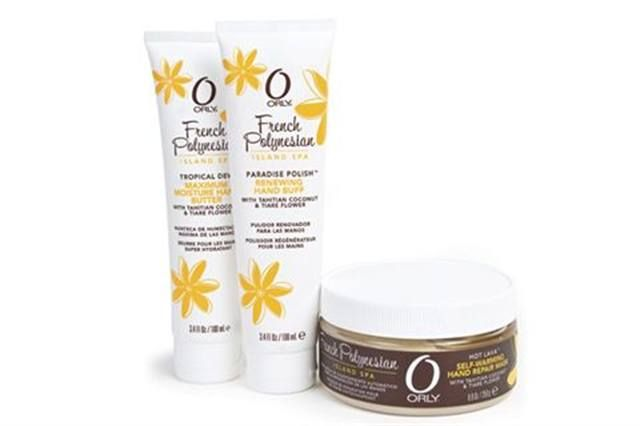 """<p><strong>Orly&rsquo;s</strong> French Polynesian line brings the perfect blend of tropical nutrients with repairing emollients to leave hands feeling like they&rsquo;ve been on a vacation. The line includes Paradise Polish, a renewing hand buff; Hot Lava, a self-warming hand repair mask; and Tropical Dew, a maximum moisture hand butter.<br /><br /><a href=""""http://www.orlybeauty.com"""">www.orlybeauty.com</a></p>"""