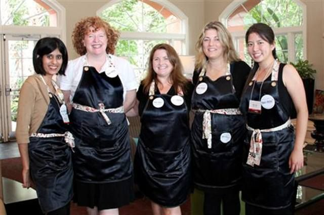 <p>The NAILS team (in our cute Green Apple Aprons) at your service! (From left: Sree Roy, Cyndy Drummey, Hannah Lee, Michelle Mullen, and Kimberly Pham.)</p>