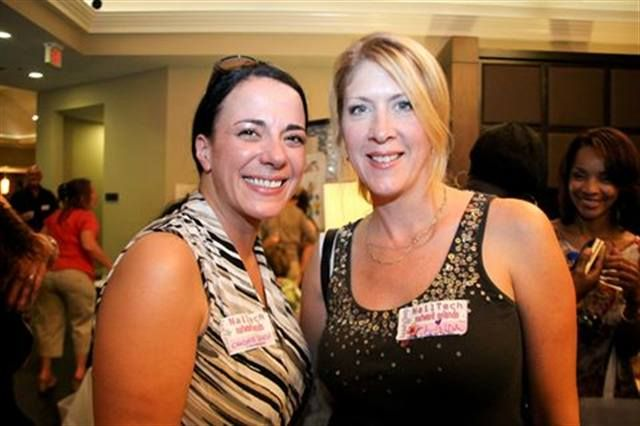 <p>Candace Szpiech (left) and Linda Tabella, BeautyTech members and first-time Network Orlando-goers, met in person for the first time at the event.</p>