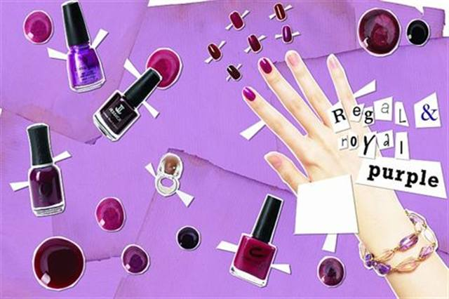 """Purple, the color of rare jewels and this fall's """"it"""" shade, speaks to the hip and chic. Give mod girls a cool retro look with a milky lavender polish and offer smoldering beauties a mysterious deep violet hue."""