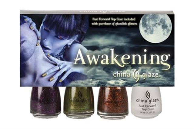 """<p><strong>China Glaze&rsquo;s</strong> Awakening Collection is sure to bring out the creature in you this October. Each polish is jam-packed with brilliant glitters and is intensely pigmented to boot. Colors include Zombie Zest, Ick-A-Body, and Mummy May I. <br /><br /><a href=""""http://www.chinaglaze.com"""">www.chinaglaze.com</a></p>"""