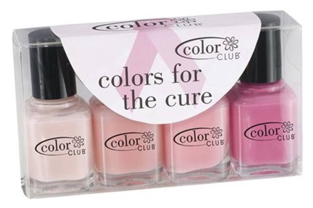 "<p><strong>Color Club&rsquo;s</strong> &ldquo;Colors for the Cure&rdquo; mini pack contains Color Club&rsquo;s four best-selling pinks in .25-oz. bottles: Translucent, Bashful, Angels N&rsquo; Pink, and In Bloom. All proceeds will go to a Lawrence, N.Y.,&nbsp; breast cancer organization.</p> <p><a href=""http://www.cosmeticgroup.com"">www.cosmeticgroup.com</a></p>"