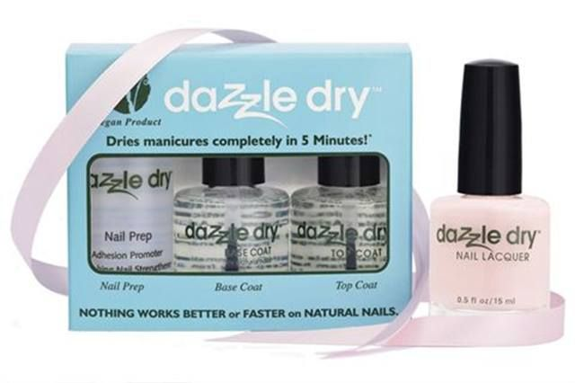 "<p>The &nbsp;<strong>Dazzle Dry </strong>three-piece vegan quick-dry nail polish system kit includes Nail Prep, Dazzle Dry Base Coat, and Dazzle Dry Top Coat. It is accompanied by the Touch of Love pink shade of Dazzle Dry Nail Polish. Twenty percent of the proceeds will benefit the Susan G. Komen Foundation.</p> <p><a href=""http://www.vbcosmetics.com"">www.vbcosmetics.com</a></p>"