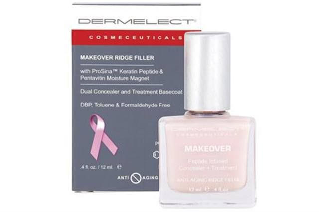 "<p><strong>Dermelect Cosmeceuticals&rsquo; </strong>Makeover Ridge Filler multitasks to cleverly conceal nail imperfections, while treating nails with protein, vitamins, and moisture. 100% of the proceeds from October sales of the Makeover Ridge Filler on www.dermelect.com will be donated to the Young Survival Coalition.</p> <p><a href=""http://www.dermelect.com"">www.dermelect.com</a></p>"