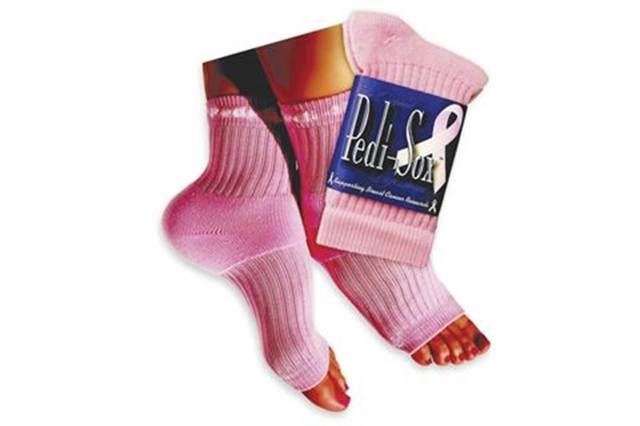 "<p>Freshly pedicured feet stay comfy, cozy, and clean, and toenails dry flawlessly with <strong>Pedi-Sox</strong>. Plus moisturizers absorb better for softer, smoother skin Throughout <br />the year the company donates $1 from every pair sold to the Susan G. Komen Foundation.</p> <p><a href=""http://www.originalpedisox.com"">www.originalpedisox.com</a></p>"
