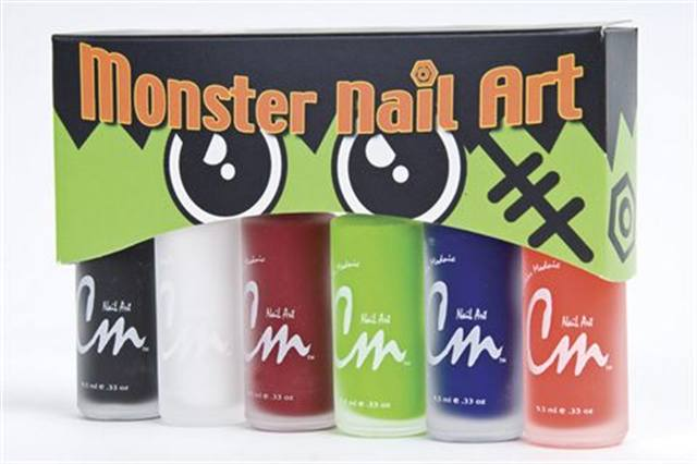 """<p><strong>LeChat&rsquo;s</strong> Monster Nail Art Collection is perfect for showing off your best nail tricks during the spooky season. Five versatile shades come with ultra thin brushes to make nail art a breeze. Colors include Electric Green, Hot Orange, Dark Red, Black, Navy Blue, and White. <br /><br /><a href=""""http://www.lechatnails.com"""">www.lechatnails.com</a></p>"""