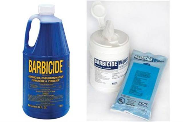 """<p><strong>Barbicide</strong> Concentrate is the number-one product manufactured and sold by King Research. This hospital grade-disinfectant is germicidal, virucidal, and fungicidal, and is now available in multiple forms. In addition to the concentrate, it is available as pre-moistened Barbicide Wipes and as pre-measured Barbicide Bullets that work with water in a spray bottle. Barbicide will not stain surfaces and is safe for stainless steel, plastics, shears, and more. King Research also creates products for hair salons, including Dy-Zoff! and Clippercide.<a href=""""http://www.barbicide.com""""> www.barbicide.com</a></p>"""